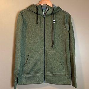 Burton olive green zip up sweater